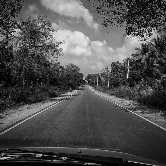 Its a Long Lonely Road Ahead! Car Car Point Of View Cloud - Sky Empty Roads Land Vehicle Long Drive Long Road No People Outdoors Rural Road India Rural Scene The Way Forward Transparent Transportation Village Roads Windshield