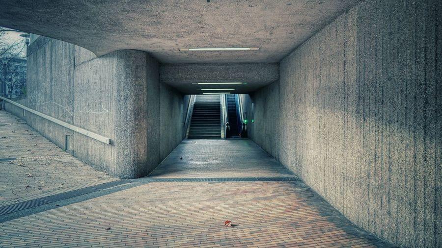 Empty corridor along walls