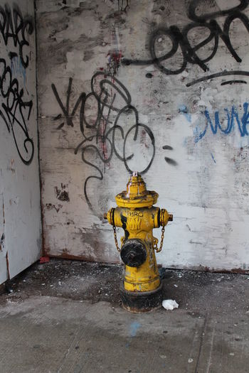 Contrasting Colors Corners Day Fire Hydrant Graffiti No People Outdoors Writings Yellow