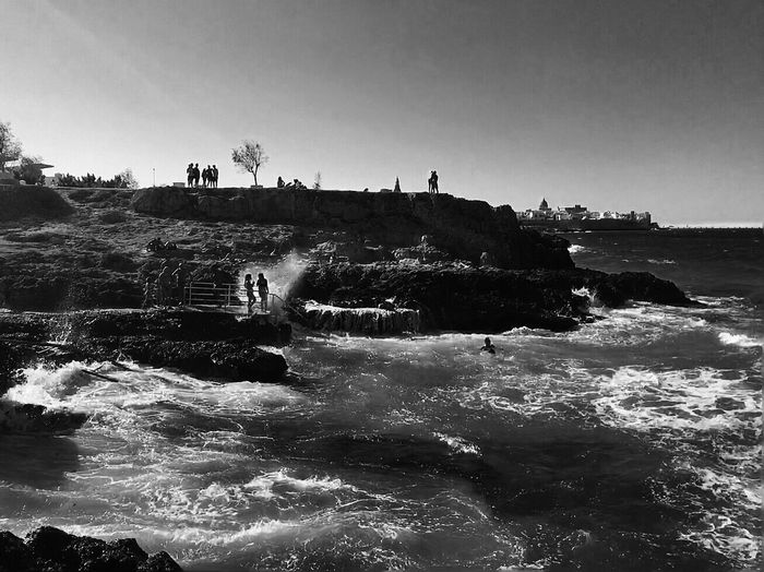 Mare Mossum // Monopoli Puglia Southern Italy Summer 2017 Summer Holidays Blackandwhite Sea Rough Sea Waves Water Nature Motion Beauty In Nature Outdoors Clear Sky Beach Scenics Vacations Sky Power In Nature