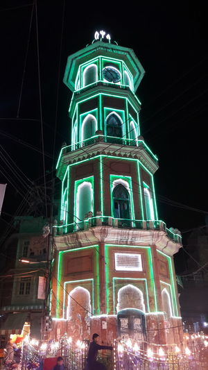 Clock Tower. Night Building Exterior Celebration Outdoors EyeEmNewHere Green Color Eyeemphotography Beautiful Scenery EyeEmBestPics First Eyeem Photo Yellow And Green White Greenhouse IndependenceDayPhotos