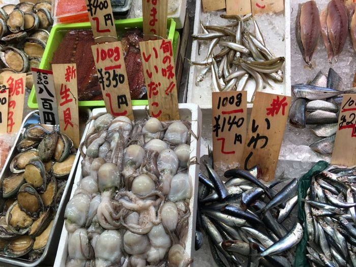 High angle view of seafood with price tags at market