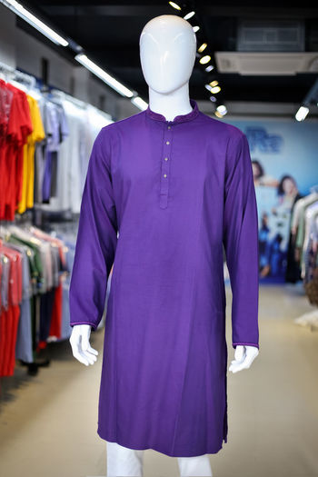 Purple kurta on mannequin in store