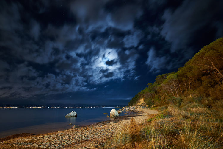 Cagliari, Sardinia Moon Beach Beachphotography Beauty In Nature Cloud - Sky Horizon Horizon Over Water Land Moonlight Nature Night No People Non-urban Scene Outdoors Scenics - Nature Sea Sky Storm Tranquil Scene Tranquility Water My Best Travel Photo Capture Tomorrow