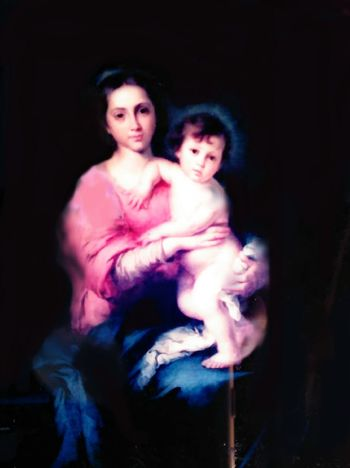 Found under a house, picture of Mother Mary and Christ child, painting, lithograph, had to restore, indoors, mother and child. Adult Mid Adult Two People Portrait Mid Adult Women People Adults Only Black Background