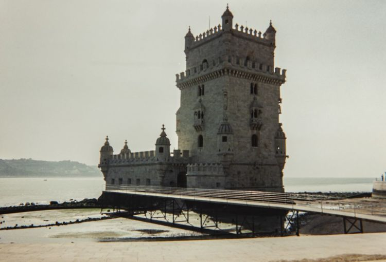View of historical building against sea