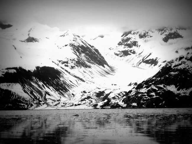 Ice Tranquility Beauty In Nature Black And White Cold Cold Season Glacier Bay Alaska Glaciers Lake Mountain Nature Outdoors Scenics Sea Snow Snowcapped Mountain White Lost In The Landscape