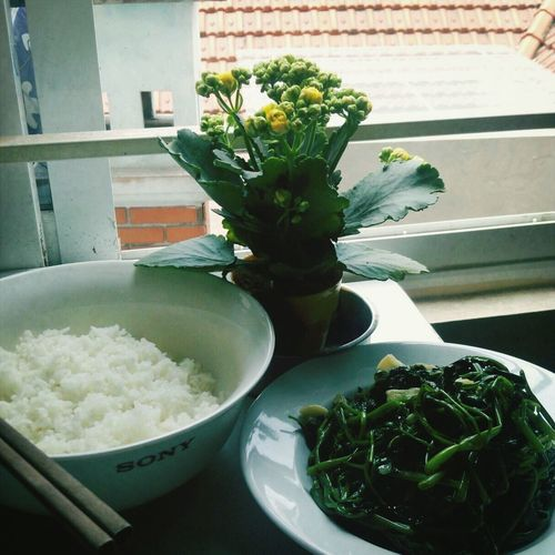 Lunch Vegetarian Waterspinach Rice