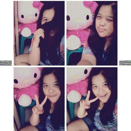 (3) With Big HK from my lovely mom <3 Me Selca Takeaselca With Pink HK doll mine cute loveit nice random tshirt 4pages instapict instacool tagsforlove likeme flwme