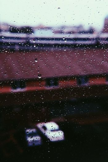 Window Rain Transparent Wet Water Drop Day No People Car Transportation Rainy Season Close-up Indoors  Nature RainDrop Sky