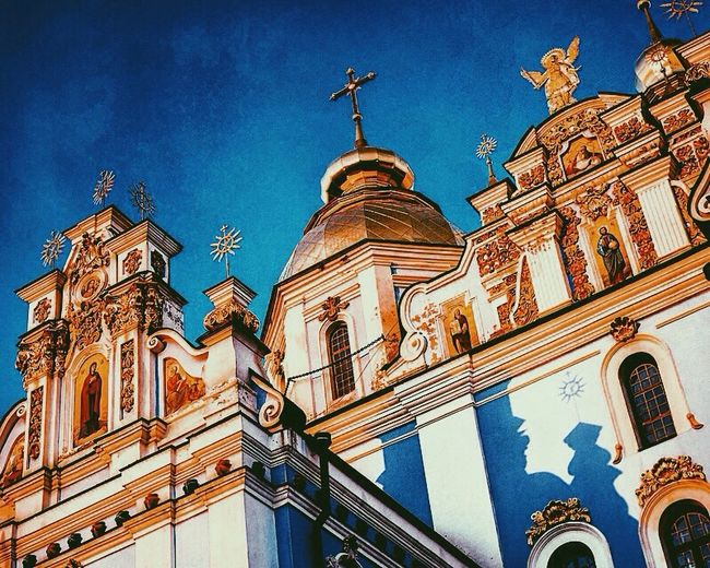 Kiev Ukraine City , Church Low Angle View Religion Sky Place Of Worship Architecture Building Exterior Spirituality Travel Destinations Outdoors day, blue , gold Minimalist Architecture