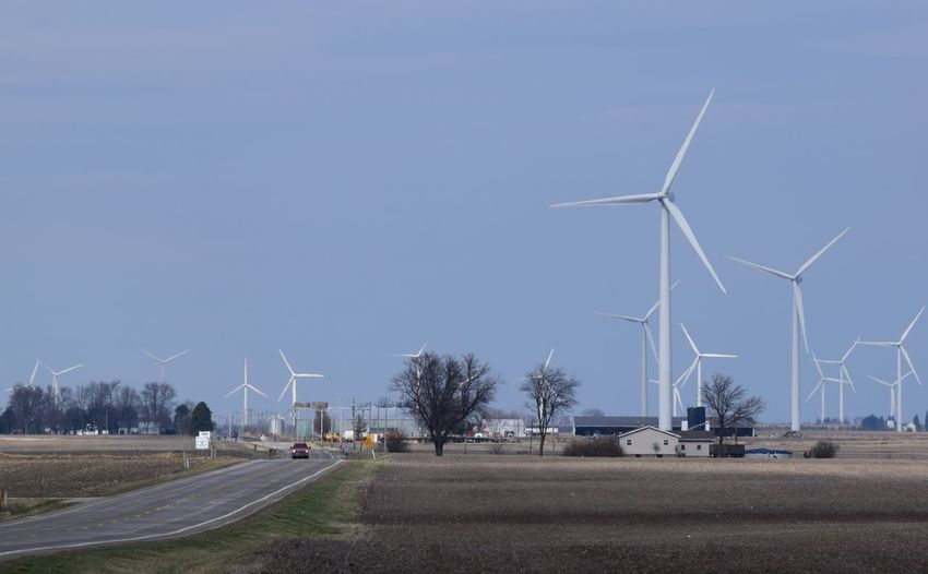Wind Power in Northwestern Indiana Alternative Energy Day Environment Environmental Conservation Fuel And Power Generation Nature No People Outdoors Renewable Energy Sky Solar Panel Sustainable Resources Transportation Wind Power Wind Turbine Windmill