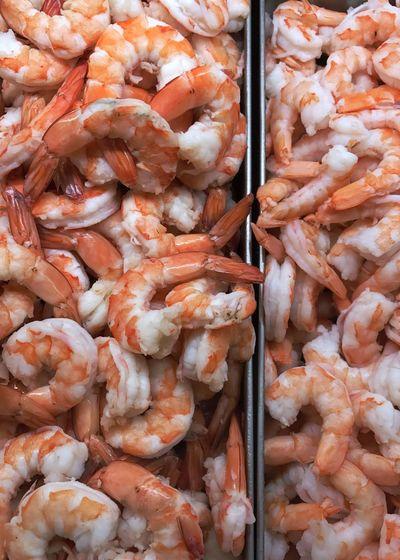 Full frame shot of prawns for sale in market
