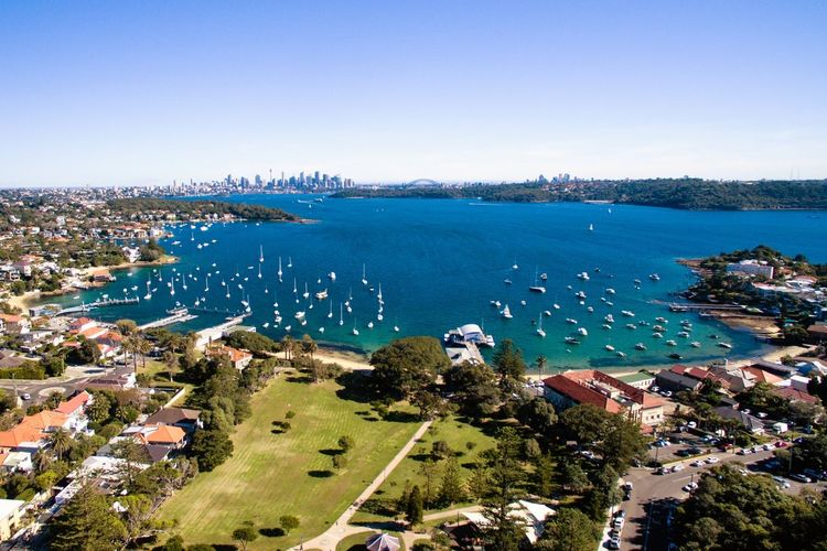 Watsons Bay, Vaucluse, Sydney, Australia. Australia Vaucluse Architecture Building Building Exterior Built Structure City Cityscape Day High Angle View Nature No People Outdoors Plant Sky Sydney Travel Destinations Tree Visit Australia Water Watsons Bay