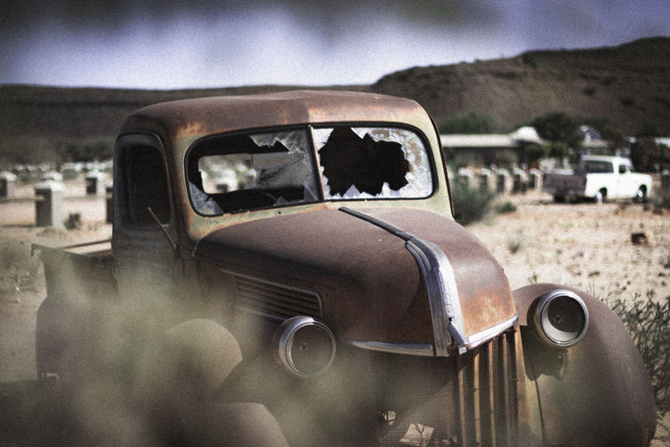 A broken down car in the desolate Namib desert. Rustic Abandoned Car Close-up Damaged Day Focus On Foreground Glass - Material Land Land Vehicle Metal Mode Of Transportation Motor Vehicle Nature No People Old Outdoors Rusted Metal  Transportation Window