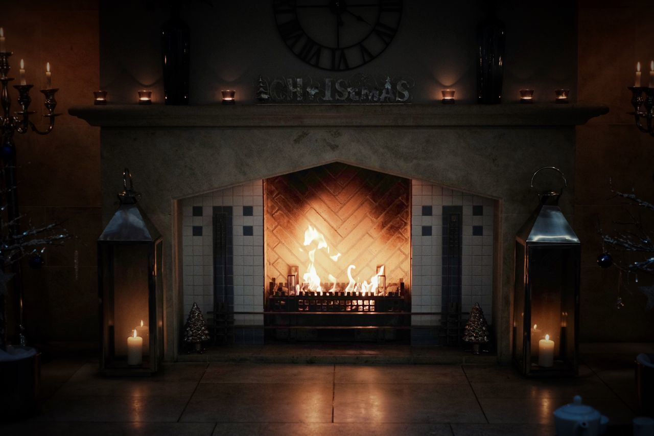 flame, fireplace, burning, indoors, illuminated, night, no people, heat - temperature, home interior, architecture