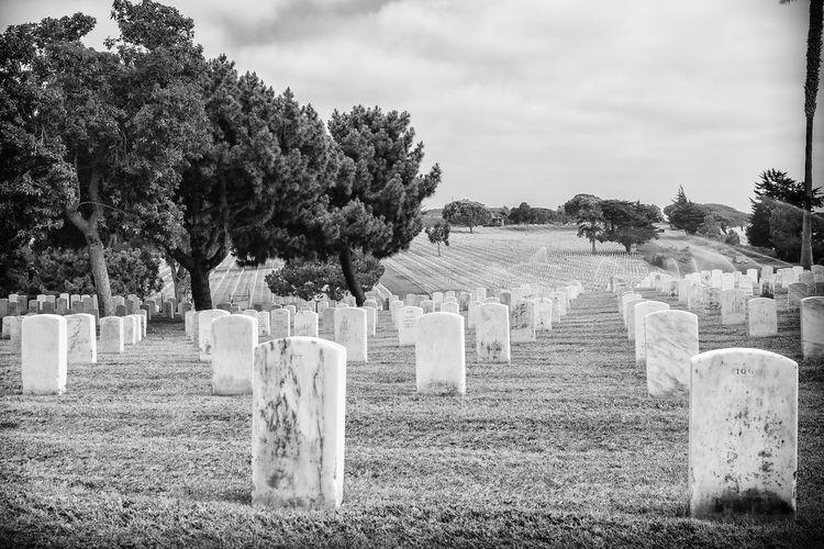 Cemeteries On Field Against Sky