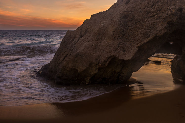 Algarve Beach Beauty In Nature Cloud - Sky Day Landscape Nature No People Outdoors Rock - Object Scenics Sea Sky Sundown Sunset Vacations Water Water Reflections Wave