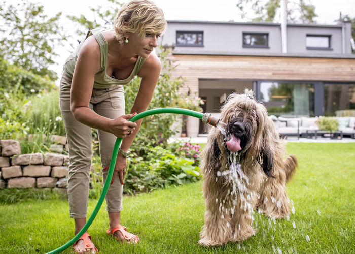 Woman with dog standing in yard