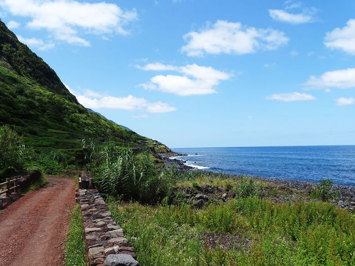 Azores Water Sea Beach Tree Sky Horizon Over Water Grass Cloud - Sky Countryside Tranquil Scene Tranquility Scenics Mountain Range