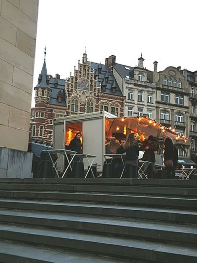 Brussels Food Truck Pretty Lights Art Nouveau Architecture Dusk In The City