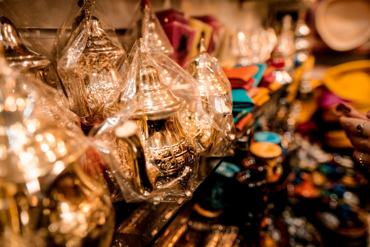 Close-up of christmas decorations for sale
