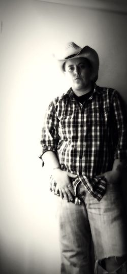 Monochrome Selfportrait Cowboy Denimjeans Plaid Blackandwhite Country You should have seen it in color