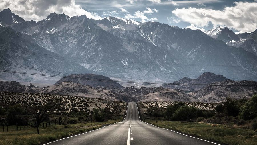 Country road passing through mountains
