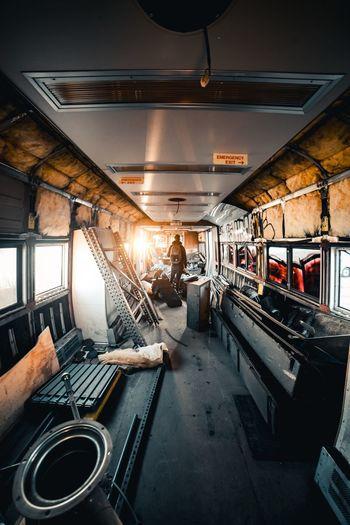 Man working in train