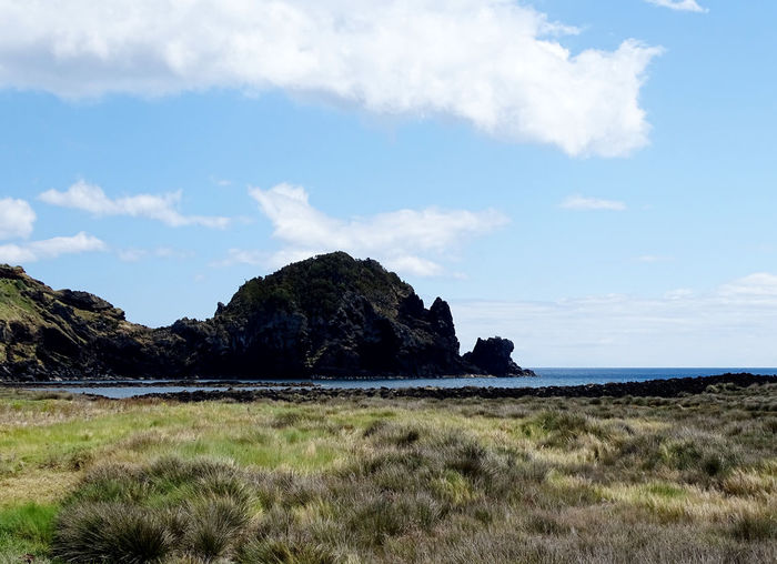 Azores Sea Beach Rock - Object Sky Cloud - Sky Horizon Over Water Grass Volcanic Rock Headland Rock Formation