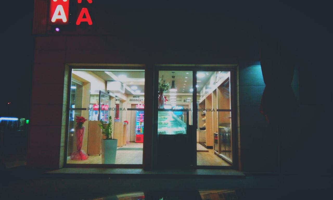 store, indoors, night, built structure, illuminated, consumerism, retail, architecture, no people, open sign, building exterior, open door, close-up