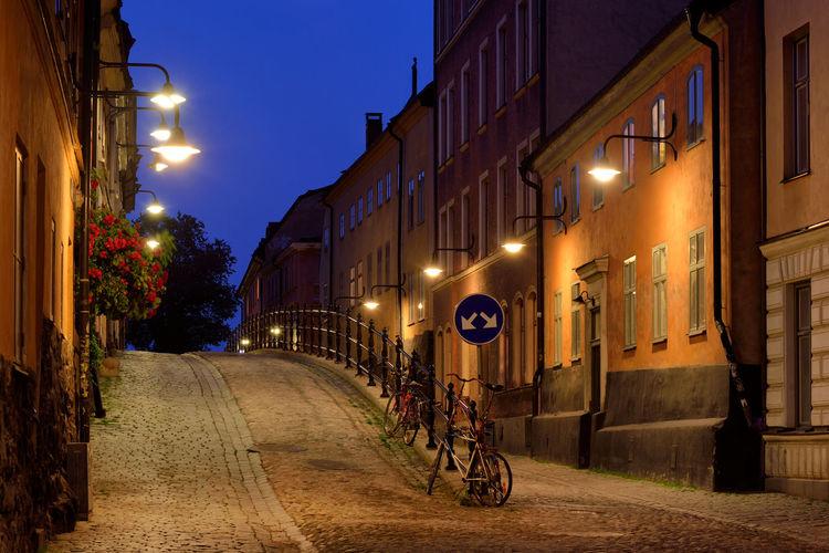 Nobody There Street Old City Light Evening Bicycle Stockholm Outdoors Sweden Europe Street Light Scandinavia Stockholm, Sweden No People SE752_STOCKHOLM_AK SE752_SWEDEN_AK