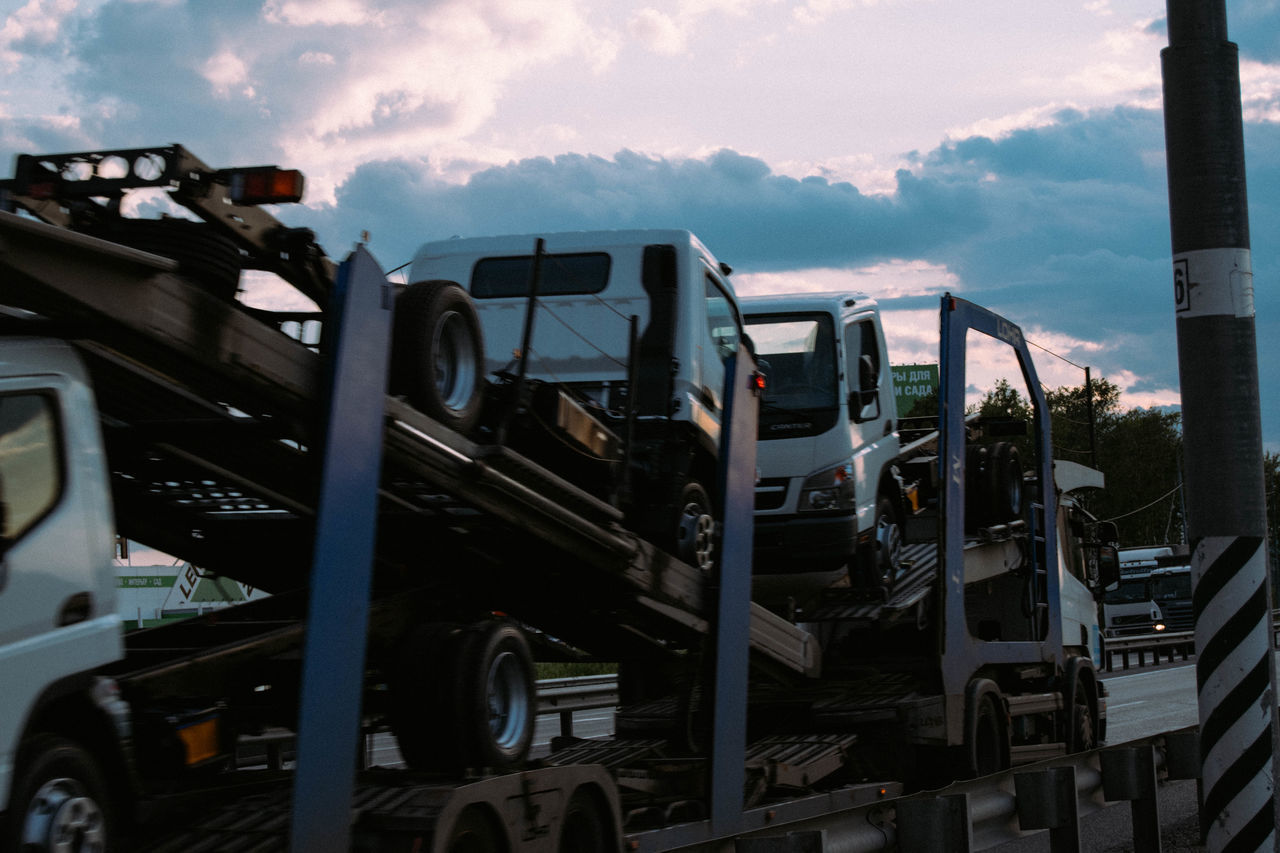 no people, transportation, sky, land vehicle, mode of transport, outdoors, cloud - sky, day