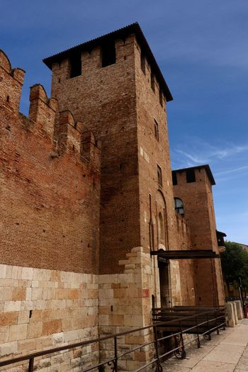 The entrance to Castel Vecchio (Old Castle) in Verona, Italy constructed 1354-1376. Castle Tourist Attraction  Travel Travel Photography Ancient Architecture Building Building Exterior Built Structure Castel Vecchio Castle Walls Day Fort Fortified Wall History Low Angle View Nature No People Old Outdoors The Past Tourist Destination Travel Destination Travel Destinations Wall