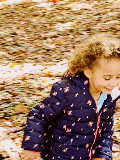 Fall run Childhood Child One Person Real People Lifestyles Waist Up Leisure Activity Autumn Mood