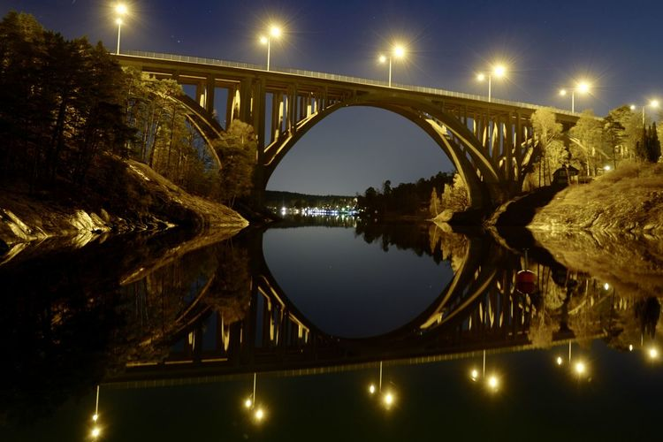 Reflection Arch Arch Bridge Architecture Bridge Bridge - Man Made Structure Built Structure City Connection Illuminated Nature Night No People Reflection River Sky Standing Water Street Light Travel Destinations Water Waterfront The Architect - 2018 EyeEm Awards