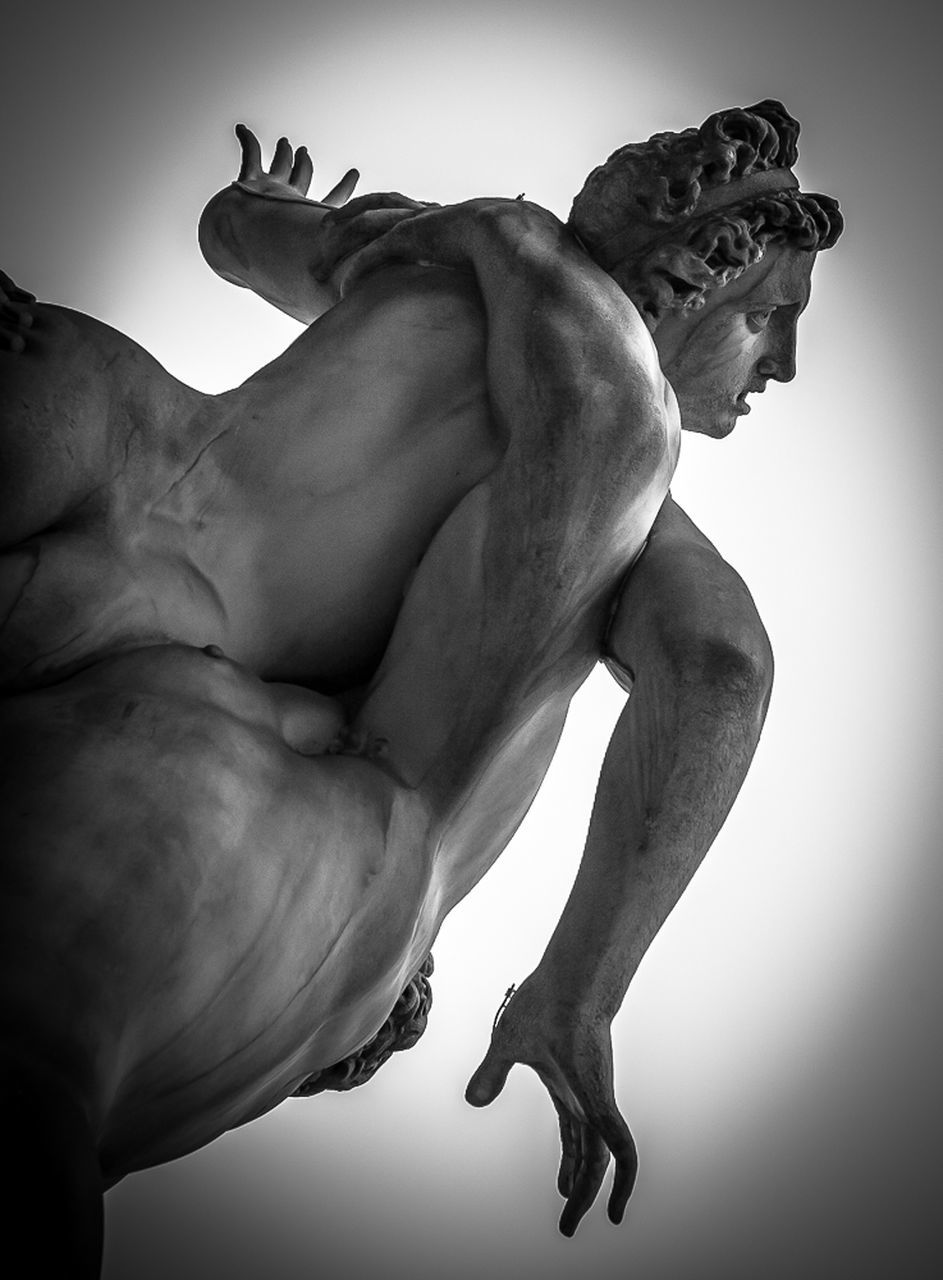 statue, sculpture, men, indoors, muscular build, close-up, human hand, day, one person, people