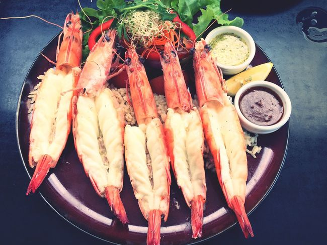 Food Food And Drink Freshness Seafood Plate Healthy Eating High Angle View Ready-to-eat Serving Size No People Indoors  SLICE Close-up Day Kingprawn