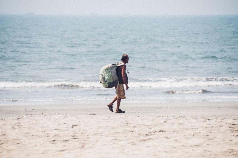 Full length of man walking on beach