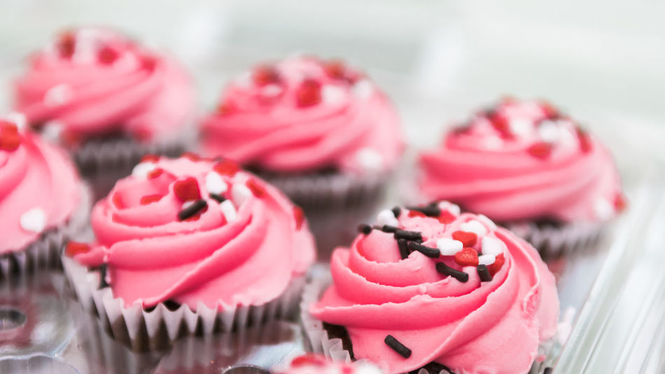 Pink cupcakes Pink Valentine's Day  Close-up Cupcake Day Dessert Food Food And Drink Freshness Heart Heart Shape Indoors  Indulgence Multi Colored No People Pink Color Ready-to-eat Sweet Food Table Temptation Unhealthy Eating