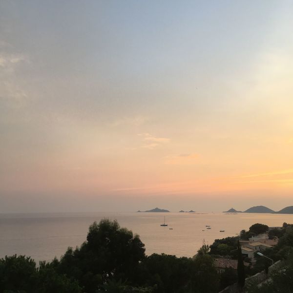 Ajaccio Corse Iles Sanguinaires Sky Water Sunset Sea Scenics - Nature Beauty In Nature Tranquility Tranquil Scene Cloud - Sky Nature Orange Color Idyllic No People Horizon Plant Tree Horizon Over Water Outdoors Beach