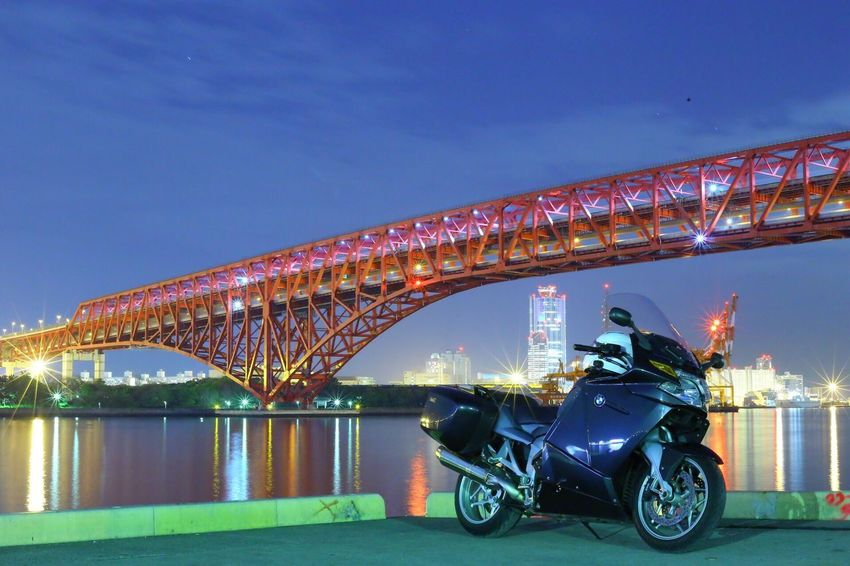 Illuminated Transportation Bridge - Man Made Structure Night Built Structure Mode Of Transport Land Vehicle Architecture Clear Sky Connection River Real People Outdoors Sky City Japanese  Bmwmotorradpt BMWMotorrad Bmw K1200gt Motorcycle Night View
