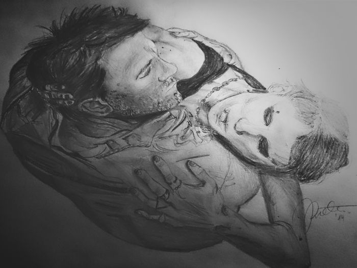 The portrait of Lisbeth and Michael - Millenium series, 2013 My Sketch Black And White The Girl With The Dragon Tattoo  Lisbethsalander Michaelblomkvist Portrait Drawing My Art My Work Sketching Millenium
