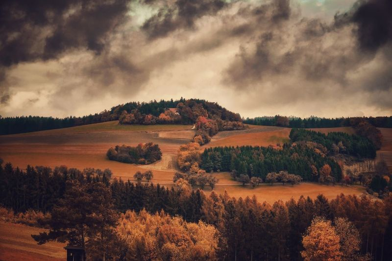Tree Nature Tranquil Scene Scenics Cloud - Sky No People Landscape Tranquility Beauty In Nature Outdoors Vienna Alps Fuji Xpro2 Capture The Moment Storm Cloud Mountain Melancholic Landscapes Austria A Photo Like A Painting Autumn Mystical Atmosphere Rural Scene Field Farm