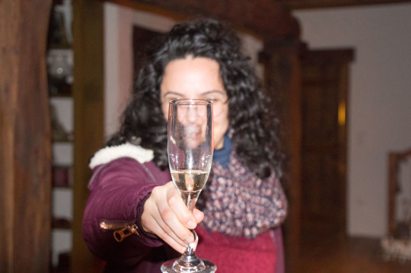 Woman Holding Champagne Flute At Home