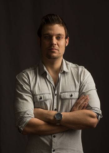 Nikon Nikon D7200 Make Model Male Portrait Deep Shadows Crossed Arms Grey Shirt Fashion Photography Fashion Model