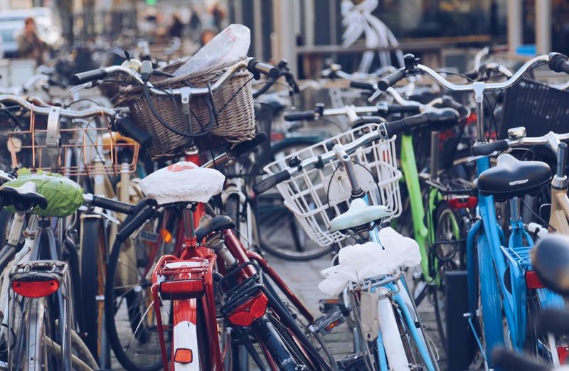 EyeEm Diversity Bicycle Stationary Transportation Mode Of Transport Large Group Of Objects No People Land Vehicle Day Bicycle Rack Hanging Outdoors