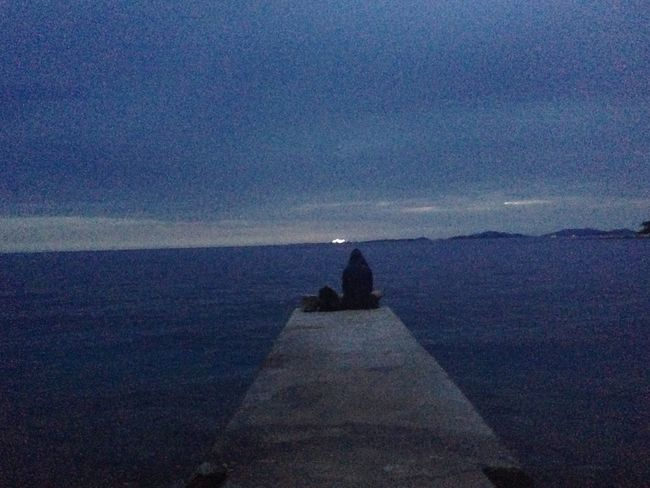 """Sitting on the dock of the bay"" OR. Dock Sitting Thinking Landscape Old Style Pixel Woman Women Who Inspire You Solitude Lighthouse Sea And Sky BlueAndGrey Blue Ontheway Travel Traveling Travel Photography Beachphotography Croatia Božava Dugi Otok Otisredding"