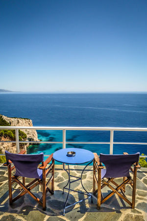 Greece Greek Islands Holiday Ionian Island Summer Tourism Travel Vacations Zakynthos Zante Table Table For Two Sea View abouve the Blue Caves