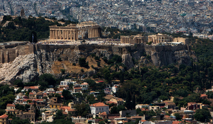 Cityscape of Athens. Acropolis Of Athens Akropolis Athens Greece Athens, Greece Greece Photos Ancient Ancient Civilization Archaeology Architecture Athens Building Building Exterior Built Structure Capital Cities  City Cityscape Day Greece High Angle View History Nature No People Outdoors Plant Residential District The Past Tourism TOWNSCAPE Travel Travel Destinations Tree